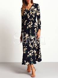 maxi dress with sleeves sleeve floral maxi dress shein sheinside