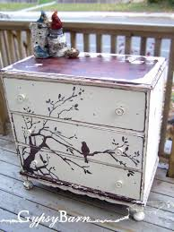 How To Paint And Stencil by Attractive Recycled Furniture With White Stencil Night Stand For