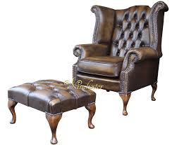 Chesterfield Wing Armchair Chesterfield 3 Seater Queen Anne High Back Wing Sofa Chair Antique