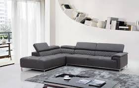 Modern Leather Sectional Sofa Divani Casa Citadel Modern Grey Leather Sectional Sofa