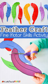 paper feather craft and scissor practice for kids