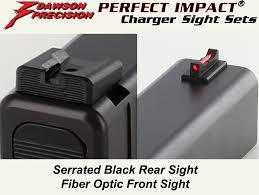 glock fixed charger sight set black rear fiber optic front