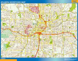 United States Wall Map Laminated by Atlanta Downtown Map Netmaps Usa Wall Maps Shop Online