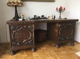 Breiter Schreibtisch Antik Sehr Seltener Schreibtisch Mit Stuhl Eiche Dunkel Um