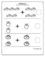 kindergarten math adding worksheets vegetables and fruits
