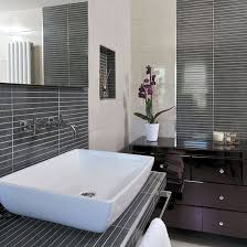 Modern Tiled Bathroom Bathroom With Grey Pinstripe Tiles Pinstriping Decorating And