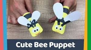 simple diy for kids paper bee puppet youtube