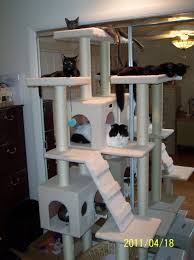 Modern Cat Tree Tall Beige Faux Fur Cat Condo 72