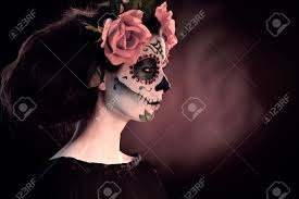 mexican halloween makeup woman in halloween makeup mexican santa muerte mask stock photo