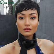 the best pixie cut for black hair new human hair wig short pixie cut wig ladies black short cut wigs
