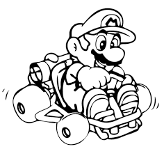 mario kart iving mini kart coloring boys coloring pages 16534