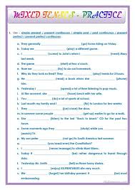 printable worksheets english tenses english mixed tenses exercises with answers ora exacta co