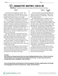 narrative writing check in worksheet education com