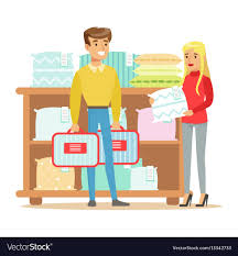 buying bed sheets couple buying bedsheets for bedroom smiling vector image