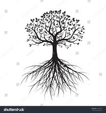 shape tree roots vector illustration stock vector 444574381