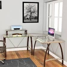 Glass Corner Desk Contemporary L Shaped Glass Corner Desk Rc Willey Furniture Store