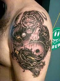 yin yang tiger v left arm shoulder tattoos