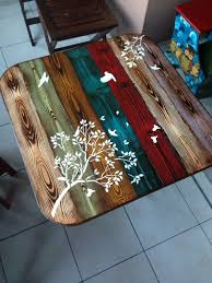 Table Top Ideas Faux Wood Painted Table Top Whimsical Bohemian Painted Furniture