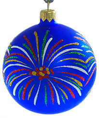 fireworks painted glass ornament blue