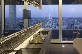 bathroom mirror glass wall city views elegant apartment with