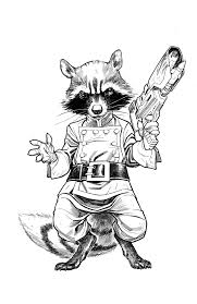 rocket raccoon bw by stephaneroux on deviantart