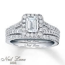 neil emerald cut engagement rings jared neil bridal 1 5 8 ct tw diamonds 14k white gold
