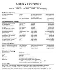 Talent Resume Acting Resume Template No Experience Http Www Resumecareer