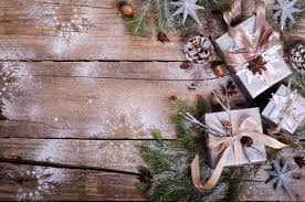 rustic christmas rustic christmas wreath with gifts on wooden background free space