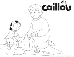 print u0026 color caillou u0026 grandma pumpkin carving coloring sheet