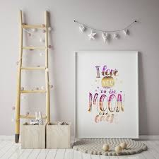 love you to the moon and back word art 8x10 baby girls room