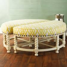 furniture emma round tufted ottoman with wooden legs for home