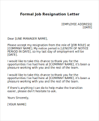 formal resignation letter sample 8 examples in word pdf