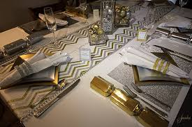 table setting runner and placemats chevron glitter gold table runner christmas table setting place