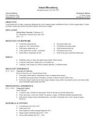 Sample Resume Objectives For Internships by Pretty Design Sample Resume For Internship 15 Internship Resume
