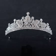 bridal crowns silver color luxury princess rhinestone tiara pageant