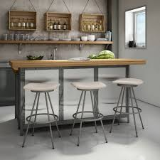 bar stools chrome metal counter stool with brown wooden square