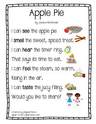 apple pie five senses poem from play learn love learning