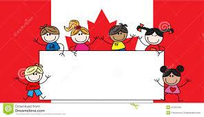 American Flag Header Mixed Ethnic Children Canadian Flag Stock Vector Image 42394081