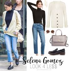 selena gomez sweater selena gomez s turtleneck and loafers look for less the budget