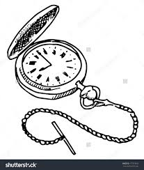 pocket watch line drawing pocket watch vector drawing on white