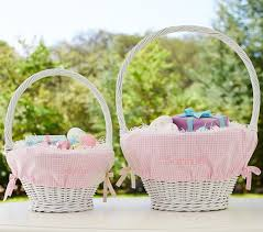 wicker easter baskets gingham easter basket liners pottery barn kids