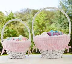 wicker easter baskets gingham easter basket liners pottery barn kids