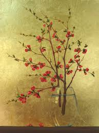 Branches In A Vase Bridget Bossart Van Otterloo Oil Paintings Quince Branches In