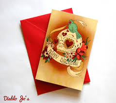 happy birthday sugar skull card with tattoo scroll day of the