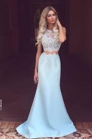 two pieces prom dress light blue prom dresses graduation dresses