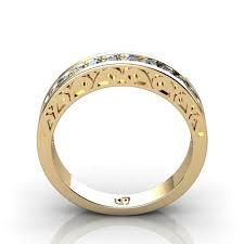filigree wedding band 14kt yellow gold matching filigree patterned diamond wedding band