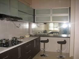 Mirror Backsplash In Kitchen Kitchen Clear Glass Kitchen Cabinet Door Decor With White Small