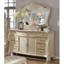 Marble Top Dresser Bedroom Set Esofastore Antique Rich Pearl White Finish 4pcs Bedroom Set
