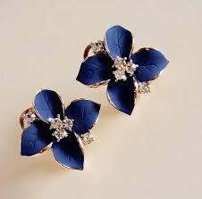 navy blue earrings navy blue flower earrings fashion gold color stud