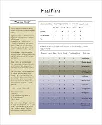 sample meal planning 7 documents in word pdf
